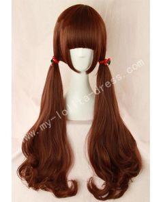 Red Brown Long Curls Lolita Wig $32.99-Princess Wigs - My Lolita Dress