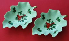 Collectible 2 LEFTON CARDINAL Leaf Shaped Dishes for by hensnest10, $15.00