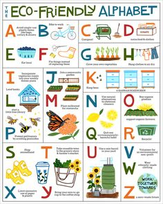 The Eco-Friendly Alphabet Poster *OR* Print - monas.lifestyle - The Eco-Friendly Alphabet Poster *OR* Print - Save Environment, Save Our Earth, Save The Planet, Sustainable Living, Sustainable Design, Sustainable Clothing, Earth Day, Earth Month, Zero Waste