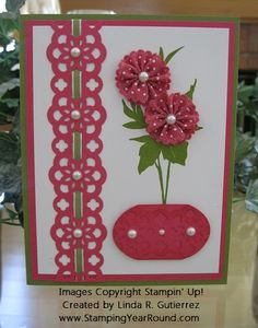 Love the use of ribbon for the flowers and thru the Lace Ribbon Border punched strip. Colors are Old Olive, Mambo and White.