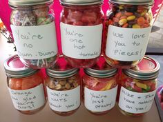 Perfect gift for Dad-- Candy in mason jars with cute sayings