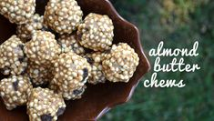Almond Butter Chews Recipe Desserts with almond butter, brown rice syrup, millet, raisins Healthy Sweet Treats, Healthy Sweets, Healthy Snacks, Healthy Eating, Real Food Recipes, Snack Recipes, Dessert Recipes, Vegan Recipes, Millet Recipes