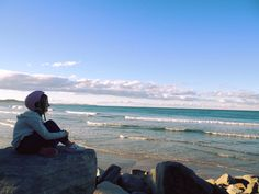 How beautiful it is to see our daughter just sitting appreciating the beautiful ocean at Brooms Head, NSW
