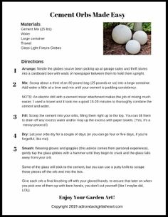 Learn how to make your own garden cement orbs in five simple steps, using thrift store, found glass globes made for light fixtures. Diy Garden Projects, Garden Crafts, Garden Art, Garden Design, Garden Ideas, Patio Design, Concrete Yard, Cement Garden, Cement Pots