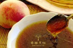 Homemade peach marmalade http://www.greekculinaryart.com/Recipes/%E6%B0%B4%E8%9C%9C%E6%A1%83%E6%9E%9C%E9%85%B1-peach-marmelada/?lang=en