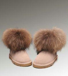 Womens UGG Mini Fox Fur 5854 Sand Boots