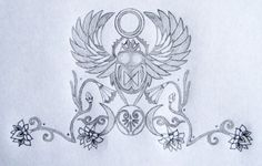 Sacred Scarab Goddess Tattoo Design