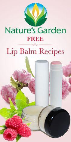 Free Lip Balm Recipes from Natures Garden. Make your own natural lip balm. #lipbalmrecipe