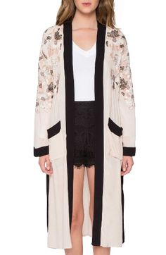 Free shipping and returns on Willow & Clay Embroidered Kimono at Nordstrom.com. This lovely embroidered kimono pairs soft romance with bold graphics with its draped silhouette and color-blocked trim.