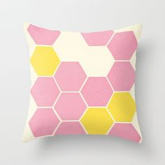 Pink Honeycomb Throw Pillow by Cassia Beck - $20.00