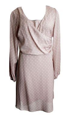 Noa Noa Kleid Vintage Silk XS S M Seide Langarm nude Punkte Chiffon Empire K43
