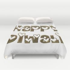 Happy Diwali Festival of Lights Typography Duvet Cover