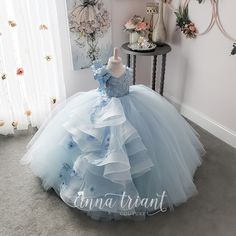 Elegance Powder Blue Gown by Anna Triant Couture Elegance Powder Blue Gown by Anna Triant Couture Princess Flower Girl Dresses, Baby Girl Party Dresses, Princess Dress Kids, Dresses Kids Girl, Baby Dress, Kids Outfits, Girls Pageant Dresses, Little Girl Gowns, Gowns For Girls