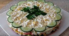 Aveți poftă de ceva bucate interesante și gustoase? Astăzi, drag amator ale bucatelor delicioase, vă prezentăm o rețetă nouă de salată în straturi. Salata este foarte gustoasă, aromată și apetisantă, perfectă pentru masa de sărbătoare. Ingredientele pentru această salată se combină perfect. Se gătește această capodoperă culinară foarte simplu și într-un timp record. Ca rezultat, veți obține o gustare suculentă, consistentă și gingașă. INGREDIENTE – 200 g de crabi sticks – 300 g de  Avocado Egg, Diy Food, Zucchini, Eggs, Vegetables, Breakfast, Recipes, Aloe, Cucumber Flower