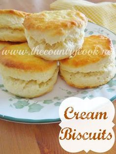 The Country Cook: Cream Biscuits {Only 2 Ingredients!} The best biscuits I've ever made!