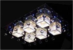 LAMPARA TECHO JT9006/6 (L: 84W * 60 * H: 14 ACERO INOXIDABLE Y ACRILICO, CRISTAL Y CABLE PLANO CUBIERTA G4 20W MAX 6 LED BLANCOS DISEMINADOS)
