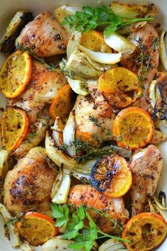 Roasted Chicken with Clementines is a masterful Yotam Ottolenghi recipe from his seminal cookbook, Jerusalem. This easy chicken dinner has layer upon layer of flavor punctuated by those gorgeous charred clementines! Ottolenghi Recipes, Yotam Ottolenghi, Cooking Recipes, Healthy Recipes, Game Recipes, Fruit Recipes, Passover Recipes, Le Diner, Roasted Chicken