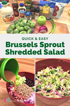 Shredded Brussel Sprout Salad, Brussels Sprout, Sprouts Salad, Salad Recipes With Bacon, Bacon Recipes, Healthy Summer Recipes, Healthy Meals, Spring Salad, Dried Cranberries
