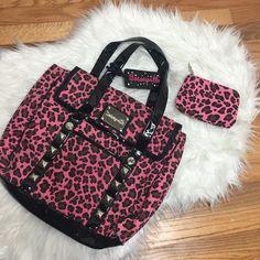 Pink Cheetah Print Betseyville Purse & Coin Purse Great Condition | No Trades Betsey Johnson Bags
