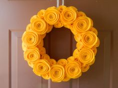 Spring Wreath - Summer Wreath - Bright Felt Flower Wreath in Gold with Pearls in the Large Flowers. $40.00, via Etsy.