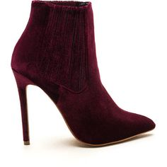 RED Sleek Attack Pointy Velvet Booties ($43) ❤ liked on Polyvore featuring shoes, boots, ankle booties, ankle boots, red, short boots, pointy toe booties, red stilettos, pointed-toe ankle boots and pointy-toe boots