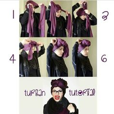 ... Turban Tutorial, Hijab Tutorial, Head Turban, Turban Headbands, African Hairstyles, Scarf Hairstyles, Muslim Fashion, Modest Fashion, Hijab Turban Style