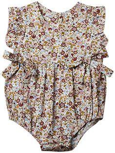 cbc2c856e229 Amazon.com  Mornbaby Baby Girls Sleeveless Butterfly Bow Ruffled Hollow  One-Piece Romper Bodysuit (9-18M