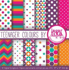 Digital Paper Teenagers Colours Fucsia Purple Teal Orange geometric Vivid funny colours Background chevron hearts pink stripes polka dots
