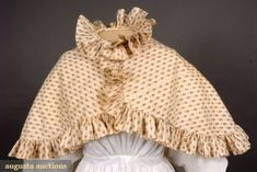 BROWN ON WHITE CALICO PELERINE, 1820s, Augusta Auctions