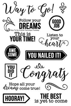 """TECHNIQUE TUESDAY: Way To Go (4""""x 6"""" Clear Photopolymer Stamp Set) This set includes: sixteen clear unmounted stamps. *Coordinates with Fancy Flourishes die."""