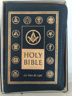 Masonic Holy Bible Let There Be Light 1950 Delux Blue Leather Boxed | eBay