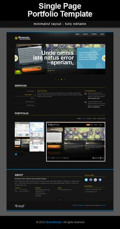 Romolo a One Page Portfolio template in PSD