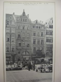 Street Fronts, Cologne, Germany, EUR From the American Architect and Building News, April 16, 1892. 8.75 by 12.75 inches. VG+. Lithograph. This picture is extremely hard to find. The American Architec