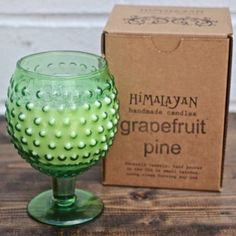Himalayan Candles - Grapefruit Pine scented handmade candle in reusable Green Goblet with Hobnail finish - $23