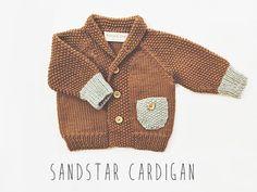 Sand Star Cardigan // Hand Knit Baby Cardigan door localparitygoods