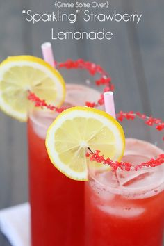 """This sparkling strawberry lemonade recipe truly """"sparkles""""! Made with fresh lemons, strawberries, sparkling water, -- and sparkling strawberry Pop Rocks!"""