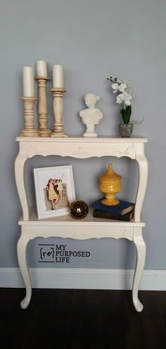 Repurposed Furniture! Queen anne side tables are cut into wall shelves MyRepurposedLife.com