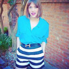 Diane Von Furstenberg vintage shirt; Hermes Belt; Stripped shorts; Mac Rebel. OOTD. @ootdmagazine #dVF www.thevonhaefen.com