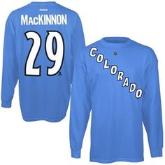 Mens Colorado Avalanche Nathan MacKinnon Reebok Steel Blue Long Sleeve Player Name & Number T-Shirt
