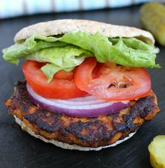 This sweet potato burger will satisfy your burger craving, without the guilt. It's a healthier alternative, that's completely vegetarian.
