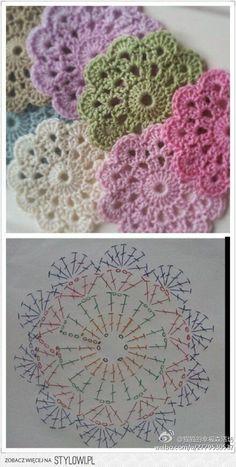 Crochet Flowers Patterns/Patrones de flores a crochet - Wiezu Motif Mandala Crochet, Crochet Coaster Pattern, Crochet Motifs, Crochet Flower Patterns, Crochet Diagram, Crochet Designs, Crochet Flowers, Crochet Stitches, Free Crochet