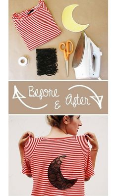 T-Shirt Makeover - DIY Lace Insert T-Shirt - Enjoyable Upcycle Concepts for T-Shirts - Tips on how t Diy Kleidung, Diy Vetement, Diy Mode, Idee Diy, Old Clothes, Creation Couture, Clothing Hacks, Diy Clothes Hacks, Clothing Ideas