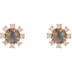 Irene Neuwirth Gemstone Floral Studs (£2,275) ❤ liked on Polyvore featuring jewelry, earrings, gioielli, colorless, clear earrings, gemstone earrings, post earrings, 18 karat gold earrings and stud earring set