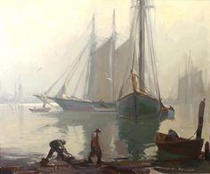 Misty Morning, Gloucester Harbour 1896 Emile Gruppe