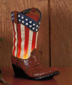 Ceramic Fanciful Cowboy Boot Light ~ Stars & Stripes ~ Home Decor~