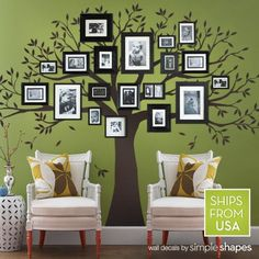 "Amazon.com: Family Tree Wall Decal (Chestnut Brown, Standard Size : 107""w x 90""h): Home & Kitchen"