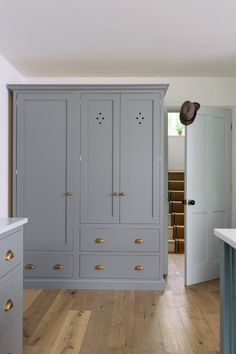 Combining an integrated fridge with a big pantry cupboard creates such an impressive and practical piece of furniture. Shabby Chic Kitchen Cabinets, Shaker Style Kitchen Cabinets, Shaker Style Kitchens, Kitchen Cabinet Styles, Shaker Kitchen, Kitchen Pantry, Kitchen Decor, Kitchen Nook, Larder Cupboard
