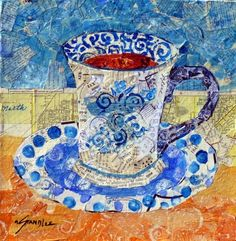"""Tea Time 13075"" - Original Fine Art for Sale - © Nancy Standlee This is the painting that shows the process I use in torn paper collage and it is under the tutorial tab at Daily Paintworks."