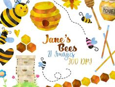 Watercolor Honey Bee Clipart by DigitalArtsi on https://crmrkt.com/GA0Ma