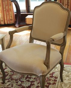 French Provincial Chair Re-done. How to use chalk paint, white wash and stain to get this look. cheers, dana